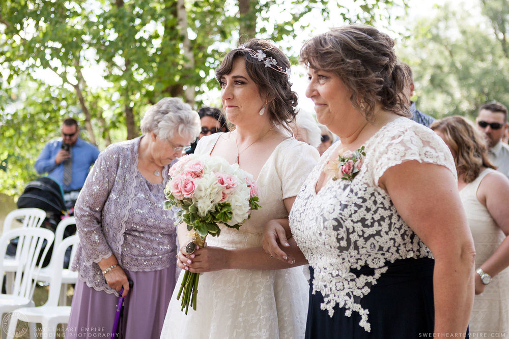 Bride walking down the aisle with her mother; Aberfoyle Mill Wedding