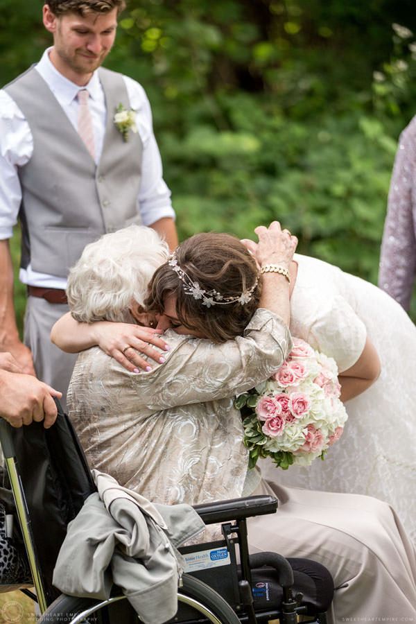 Bride hugging her grandma; Aberfoyle Mill Wedding