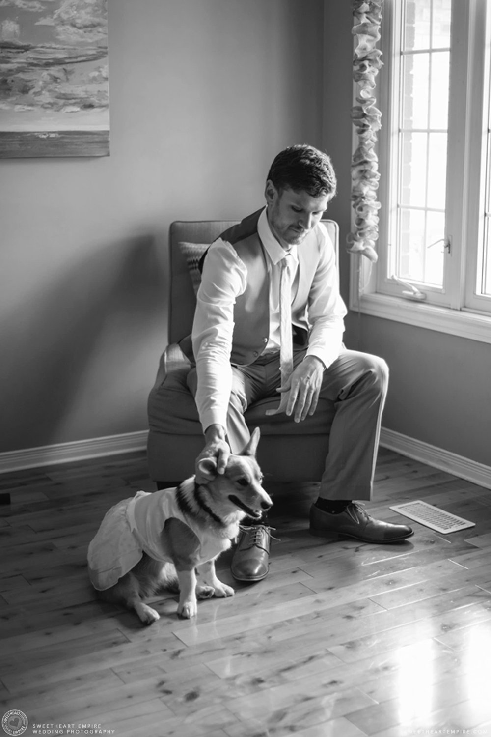 Groom getting ready with his dog; Aberfoyle Mill Wedding