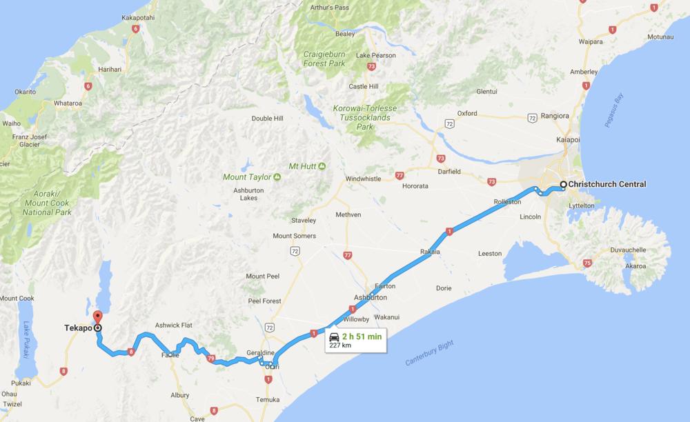 Drive from Christchurch to Lake Tekapo