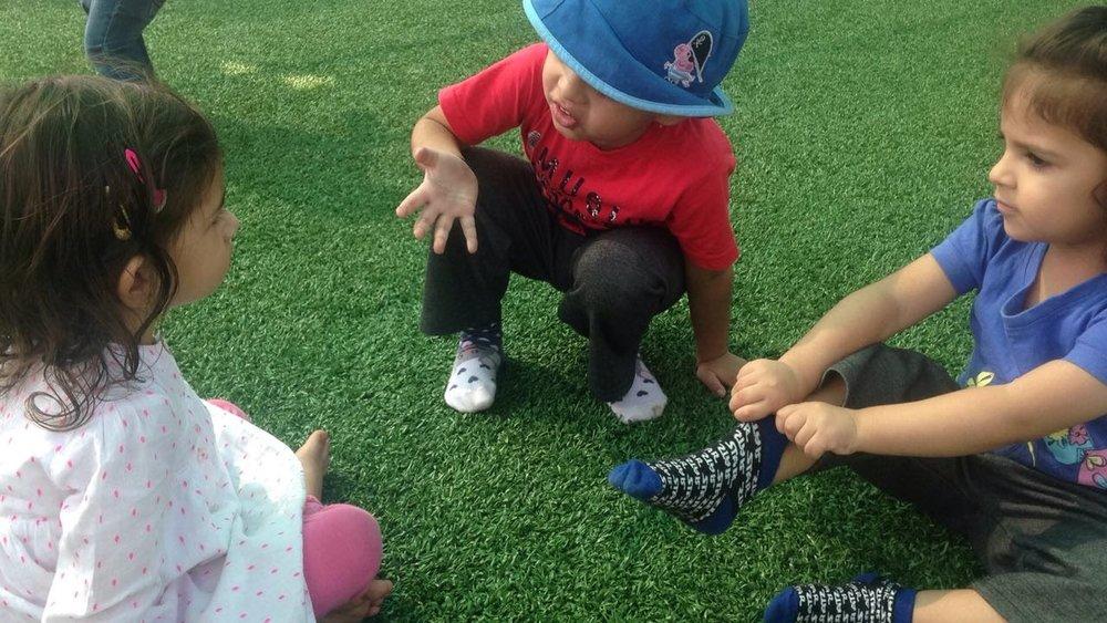 Children interacting during outdoor games