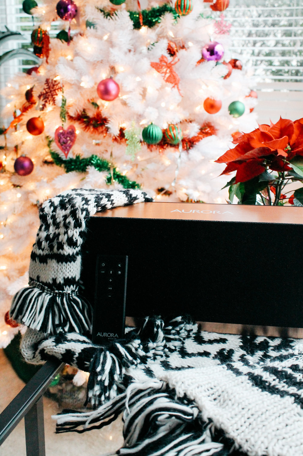 Aurora Home by Thiel Audio next to Christmas Tree // Always Creating Studio