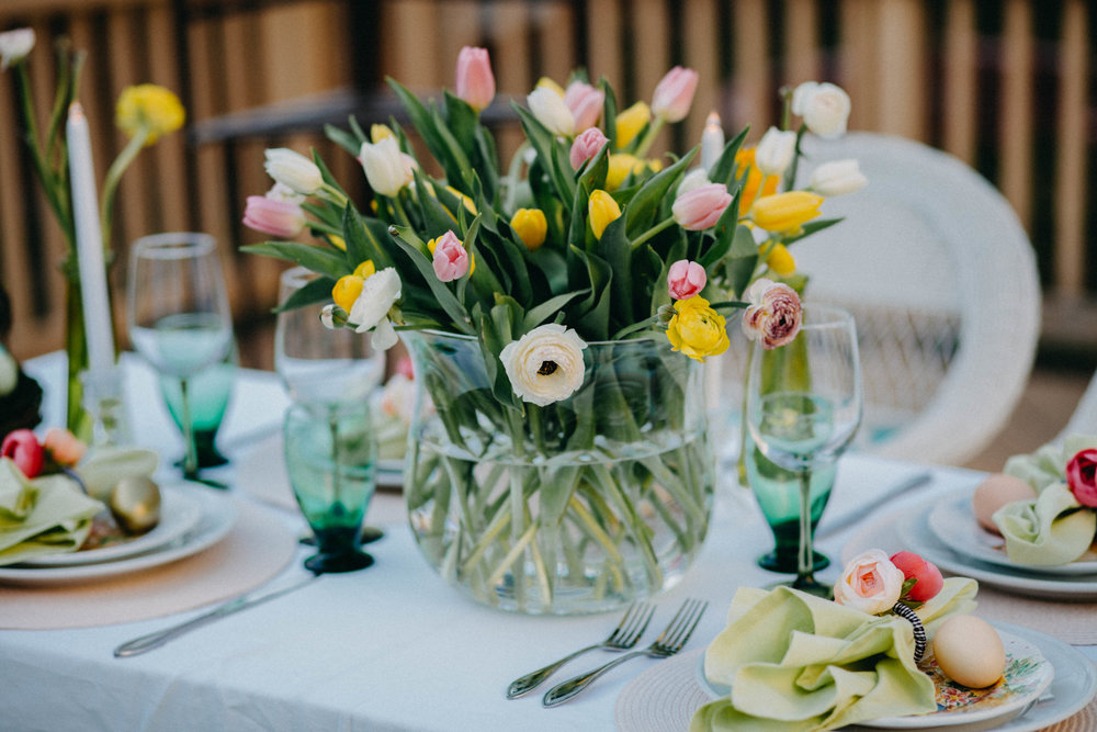 Casual and Whimsical Outdoor Easter Tablescape    - Always Creating Studio
