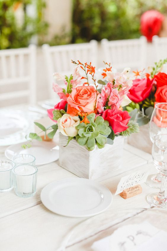 Always Creating Studio Weddings & Events - Sterling, Virginia // Photo of a place setting using Pantone Color of the Year: Living Coral | Wedding Design | Wedding Color | Color Trend