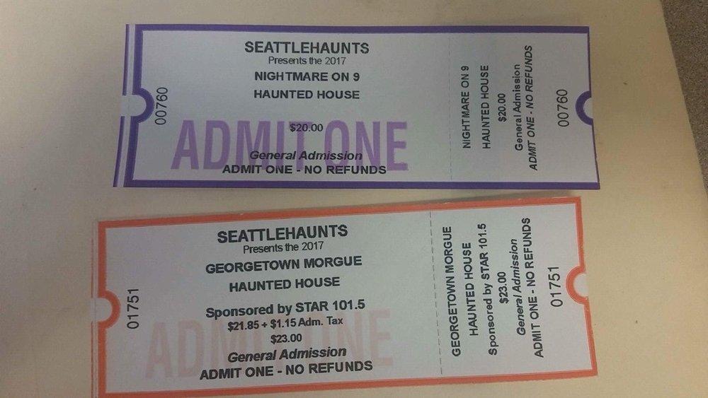 10 Ticket - Seattle Haunts - Geeorgtown Morgue    10 Tickets - Seattle Haunts - Nightmare on 9