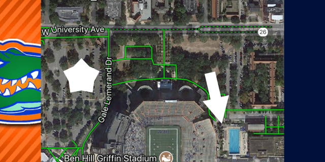 Parking - Park on the west side of the stadium in the O'Connell Center Parking Lot (Star on Map). Walk on the north side of the stadium towards the Pool (Arrow on Map). Enter the the Pool's West Gate (Stadium Side).
