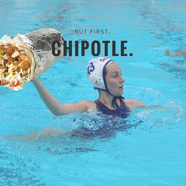 The UF Women's Water Polo team is having a fundraiser at the University Ave Chipotle on Saturday October 28th between 4pm and 8pm, so mention us at the register and 50% of the proceeds from your order will support WWP!