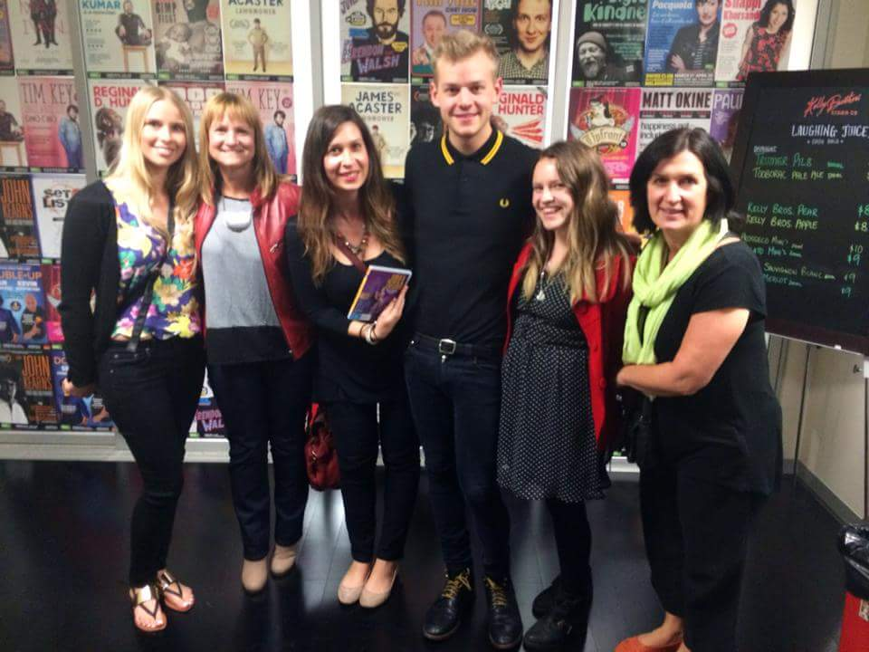 Photo: Tracey and Taylah (both in red jackets) and friends meet Joel Creasy