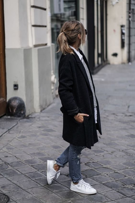 5. A classic style, with a tailored coat, and shirt under a jumper.  Photo: Pinterest