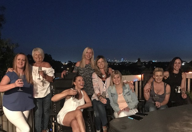 A night out with the girl's on Rose's roof top pad.  Rose loves her city view.