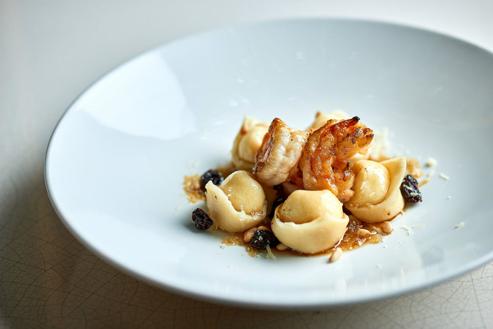 One of our favourite dishes - Goats Cheese Tortellini with king prawns and burnt butter  Photo