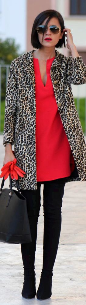 Style leopard print with colour.  AW17 red is the in colour, and looks amazing with leopard.   Photo