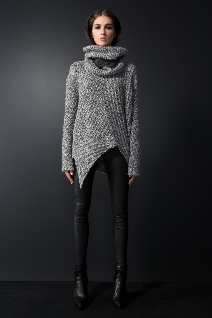 One of Caz's favorites.  Jumper and neck snood go so well together, and the diagonal hemline, with a touch of leather is extremely slimming.  $289.00.  Comes in black also.