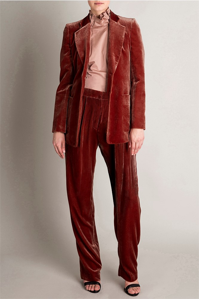 "Bianca Spencers knockout suit was a stand out item at Australian Fashion Week.    The ""Rust Velvet Viceroy"" Pants are on special.  $495.00, down to $248.00,   Shop here"