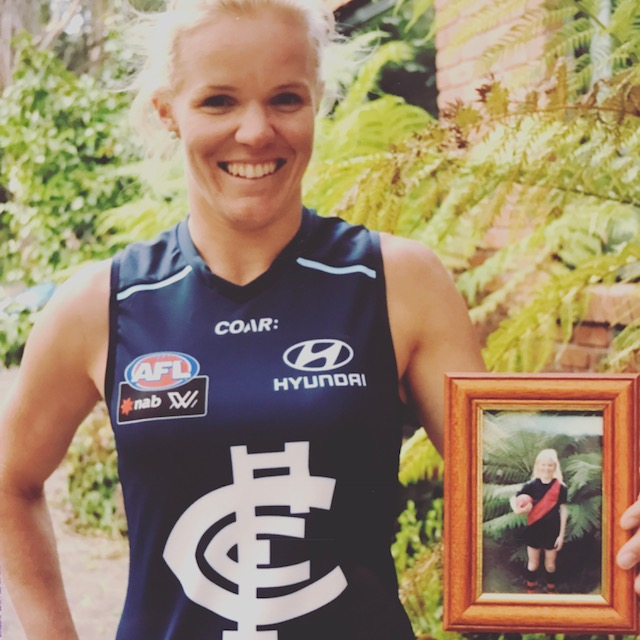 Consecutive games....u/12 for Riddell 2001, then AFLW for Carlton 2017 - Kate.