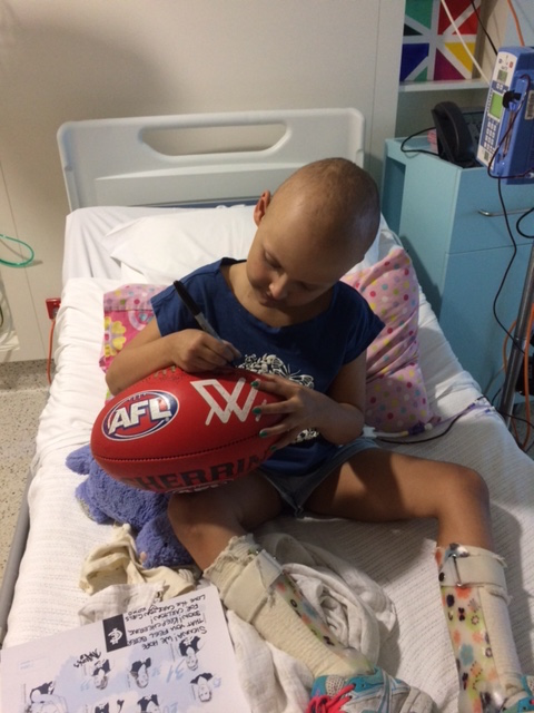 Sienna signed my ball so it'll give me her strength through my tough times....my favourite RCH patient 😍 - Kate