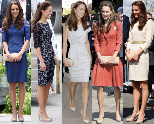 Save money by purchasing one pair of stylish shoes and wearing them with many different outfits like Kate demonstrates here.  Ideal for a time poor, busy career woman.     Photo