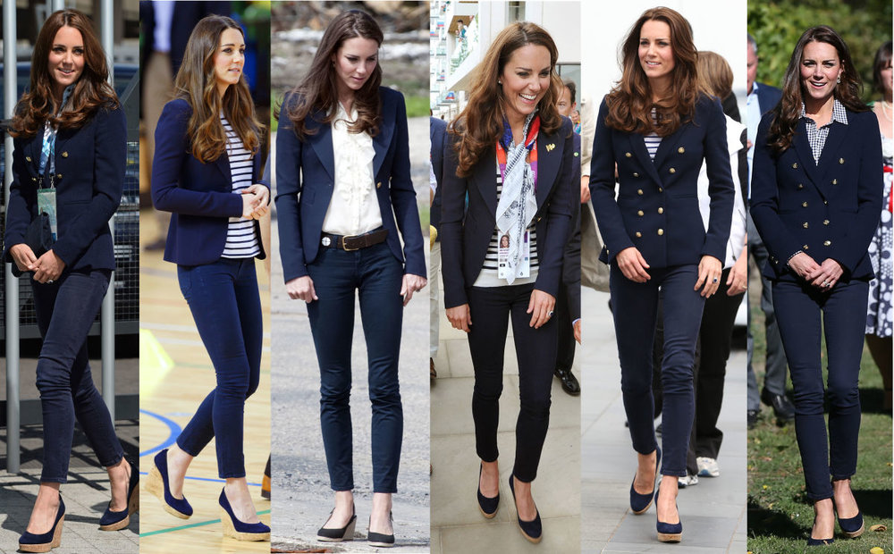 Wedge shoes are a great choice if you struggle with heels, or if your job requires you to walk on grass and uneven surfaces.  Again you can see how Kate is brilliant with style.   She knows her own style and wears it often.   Photo
