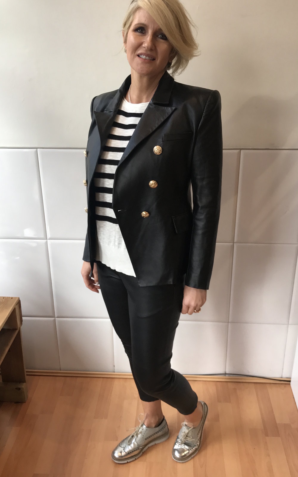 Capri's are huge this Spring 17 season. These Italian leather melted into my legs. Styled simply with a long sleeve striped top and a stunning 80's style (shoulder pads and all) leather jacket.