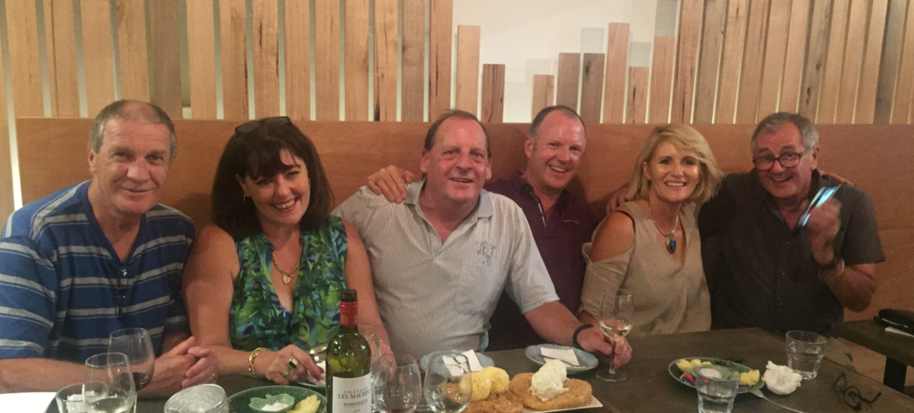 Ken, Karen, Ivan, Simon, Caz and John, (Auntie Joan)celebrating Ivan's birthday.