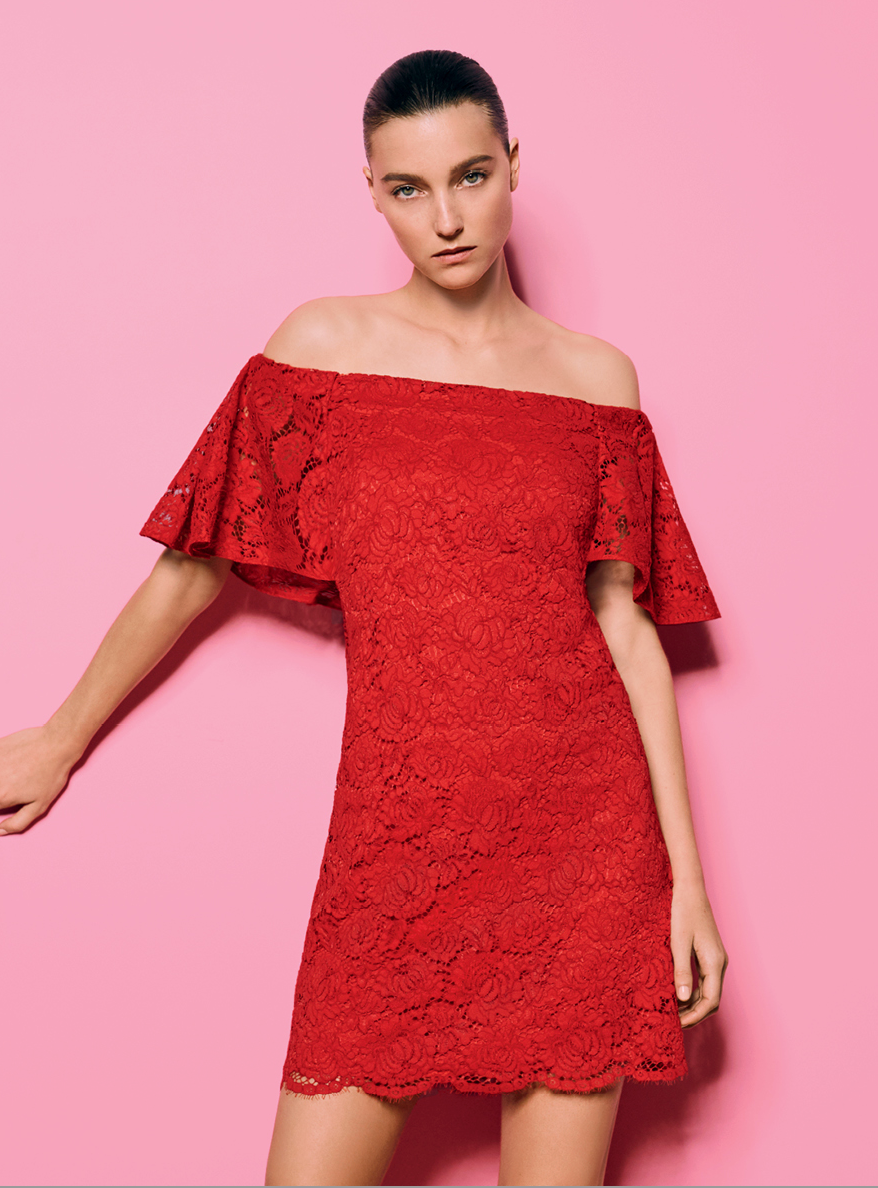 "Amplify your feminine lace dress with a vivid shade of red.  Wear with this seasons ""rose gold"" metallic shoes, drop earrings and a gorgeous clutch for a stunning look.  Wear night and day.  From Witchery here.  PS: Notice the image - red with pink, they are huge together this season."