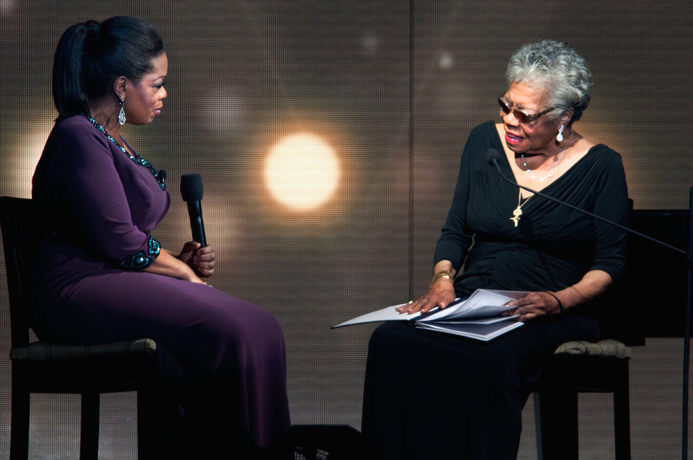 "Maya was Oprah's ""Spiritual Queen Mother"" and taught Oprah respect. Such a beautiful relationship.    Image source here."