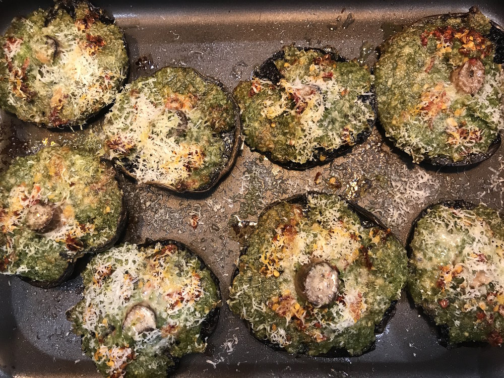 Another favourite of mine is to place pesto and parmasean cheese on top of mushrooms.  Place in the oven at about 180 degrees for 15 minutes and serve with a salad.