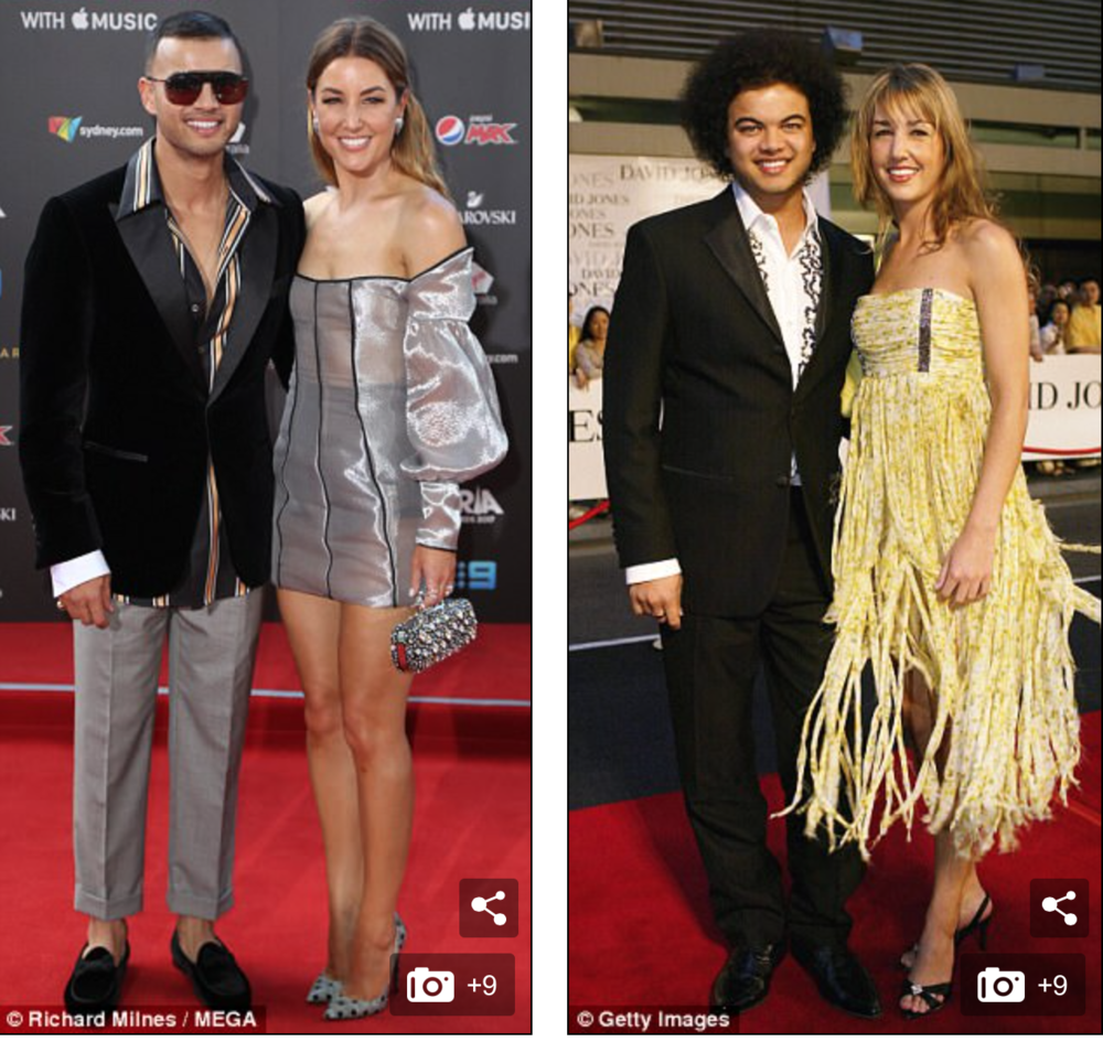 Guy and wife Jules at the Aria's last night and 14 years ago.  Image Sources: MEGA and Getty Images.