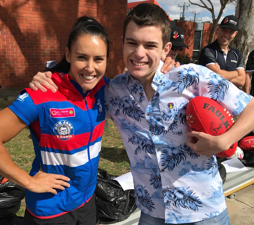 Brad, a Western Bulldogs supporter couldn't wait to meet Nicole.