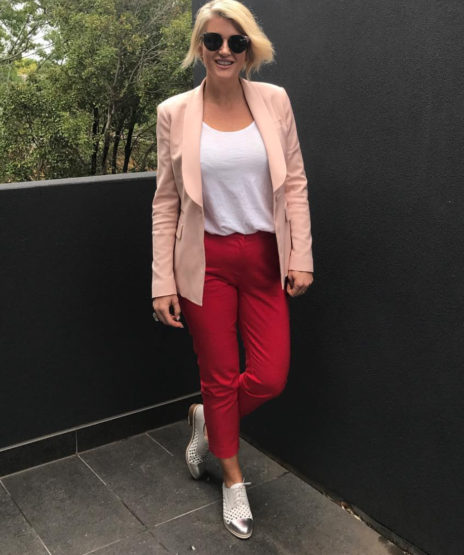 Caz wearing a simple tailored jacket and pants with a t-shirt.  Check out more of her styles at Cazinc Blog Instagram Page.