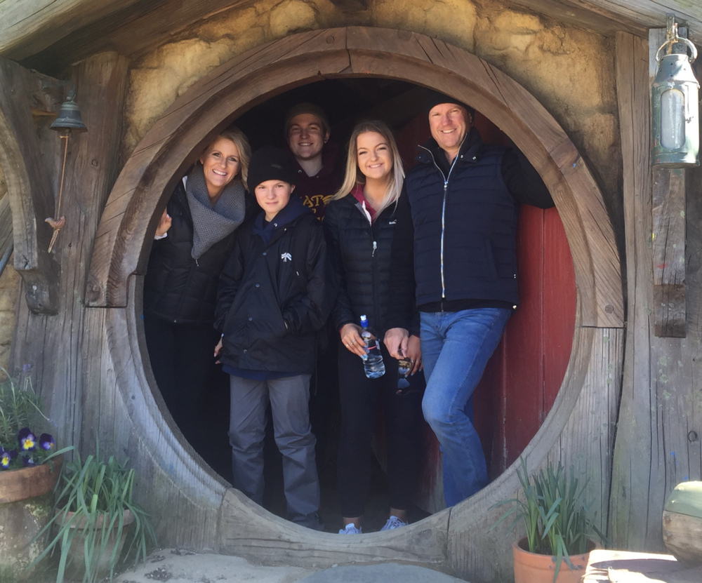 Five of the six Rowland's visiting Hobbitville, New Zealand.