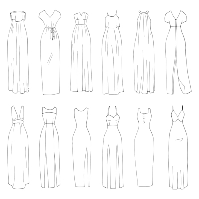 Different styles of Empire Line dresses.