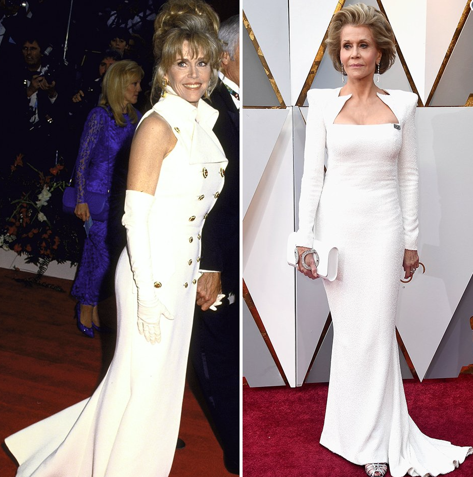 Jane Fonda in 1993 and 2018.   Image