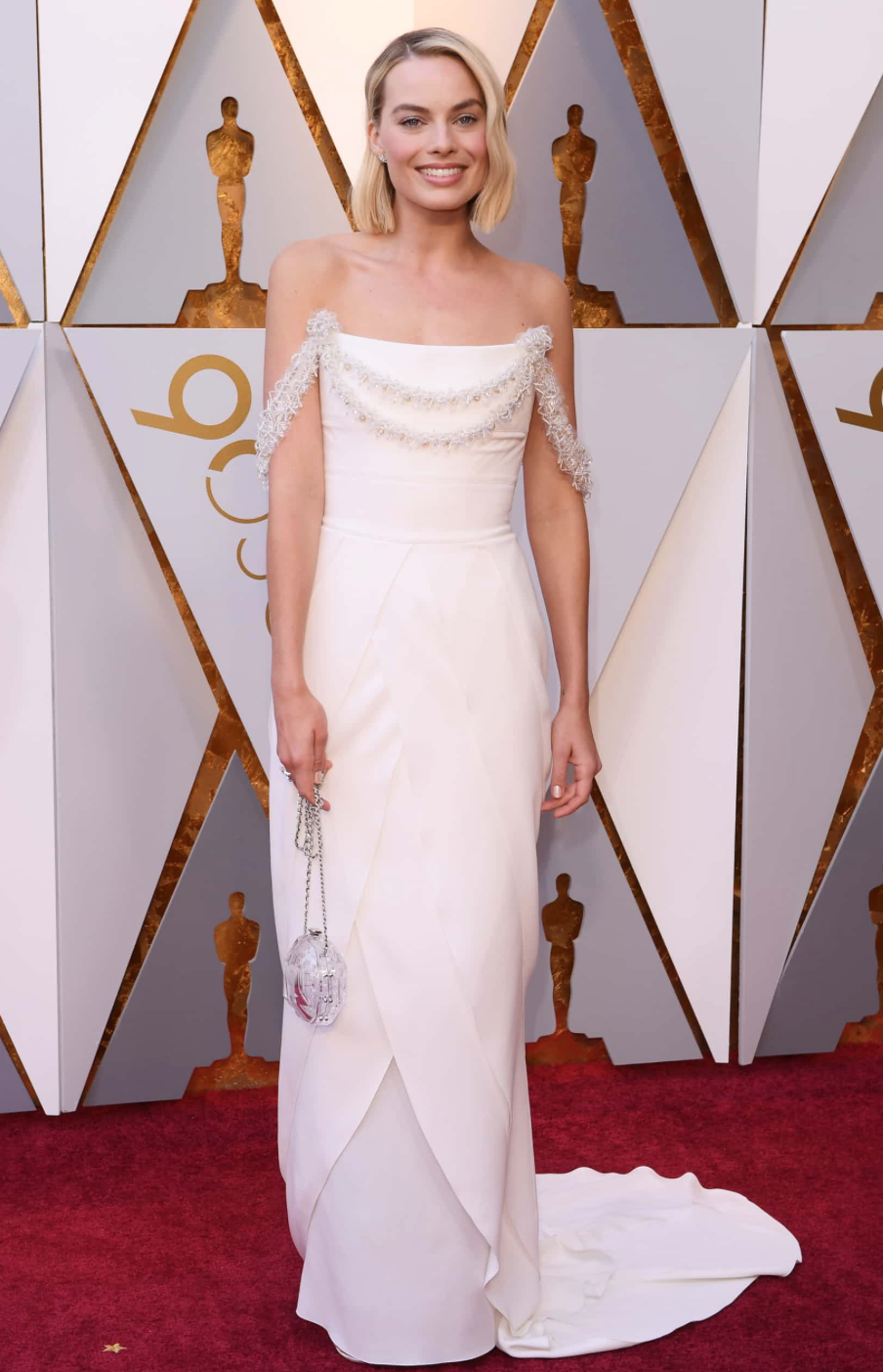 Margot Robbie in floor-length Chanel.  Photograph: David Fisher/Rex/Shutterstock