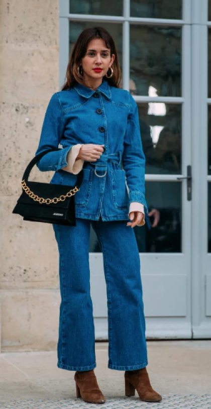 Denim on denim is here to stay.   Image