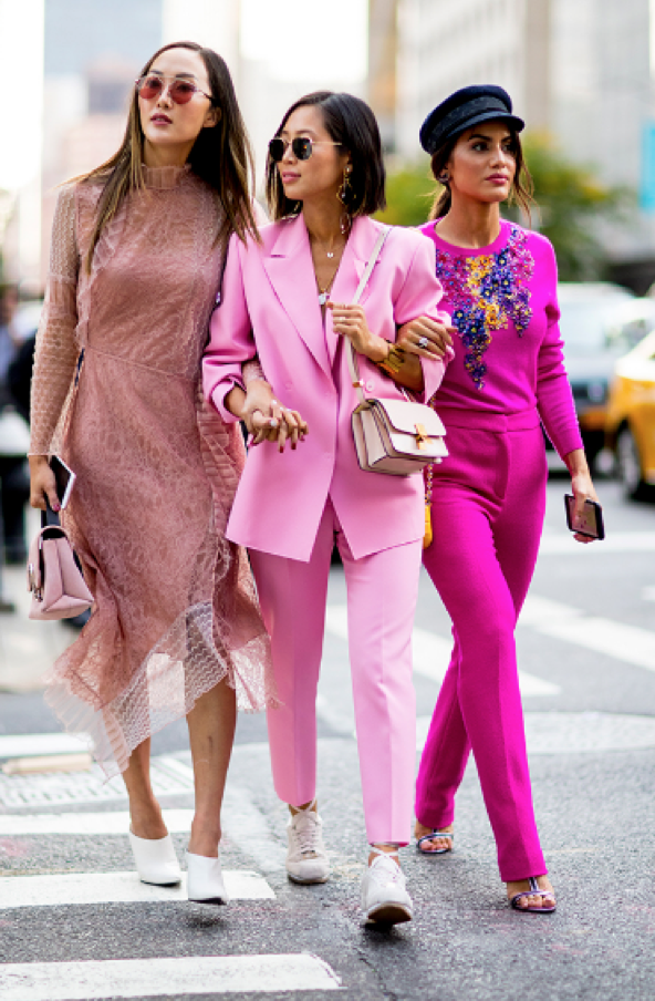 Color was all the rage on the runway as seen on Acne Studios, Rochas, and Michael Kors, and it made power suits look a little less serious for the streets. Image Harpers Bazaar.