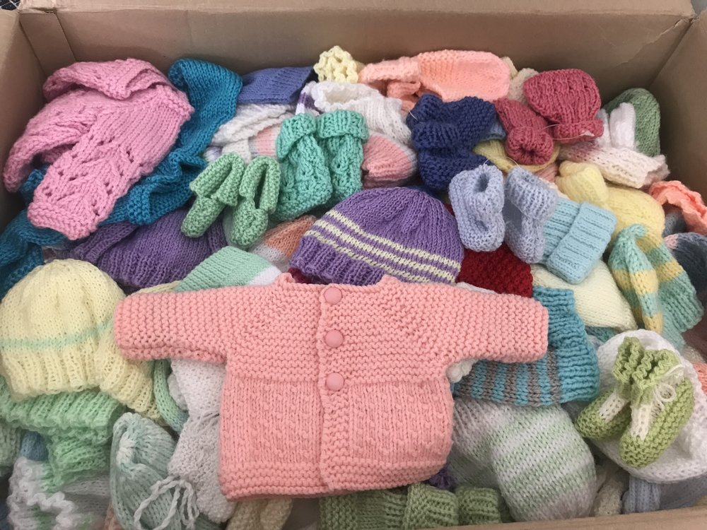 A huge box of knitted items was sent from Kogo.