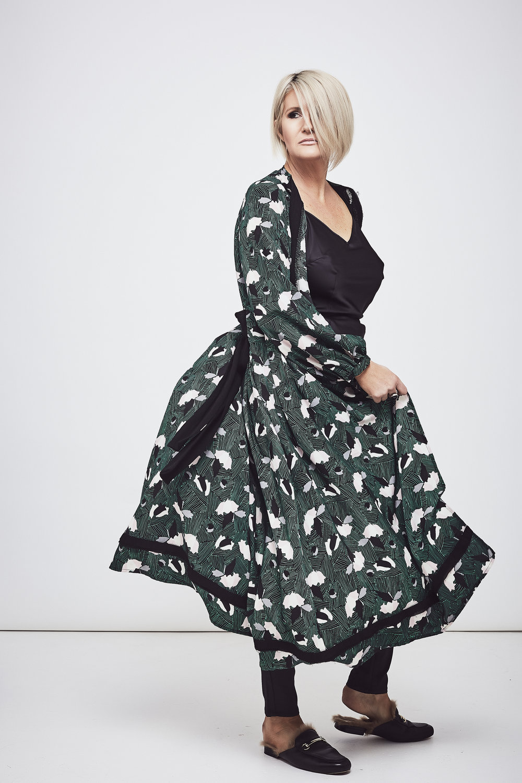 DEA The Label  kimono coat,  Witchery  pants and  Mollini  mules.