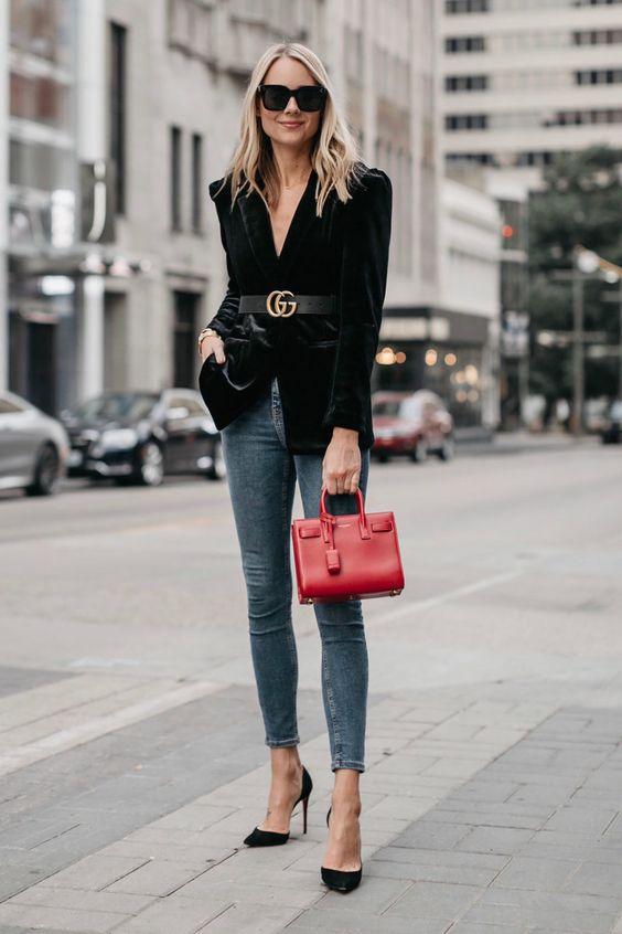 Blonde Woman Wearing Black Velvet Blazer Gucci Marmont Belt Denim Skinny Jeans Black Pumps Saint Laurent Red Sac De Jour Fashion.