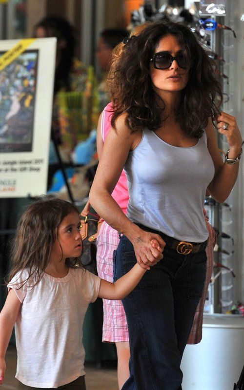 Salma rocking casual style with her Gucci belt.