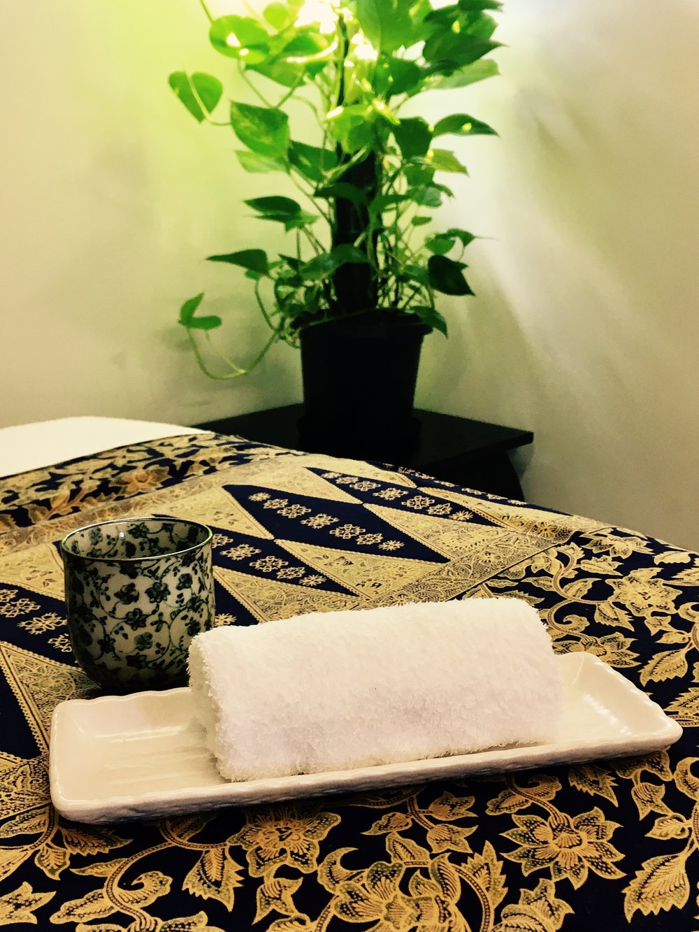 Enjoy a hot towel and herbal tea after your massage.