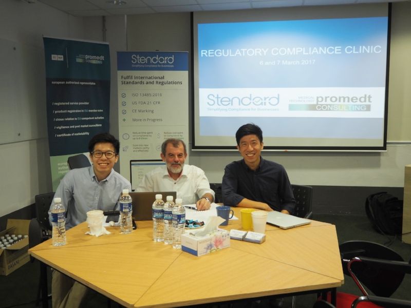 (From left) Mr Vincent Lim (COO of Stendard), Dr Michael Rinck (MD of MT Promedt Consulting GmbH, Mr Jason Lim (CEO of Stendard)