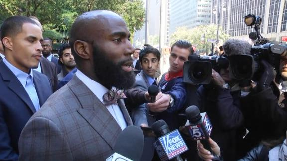 Photo Credit: ESPN. Jenkins speaks with reporters after players meeting with NFL officials in New York.
