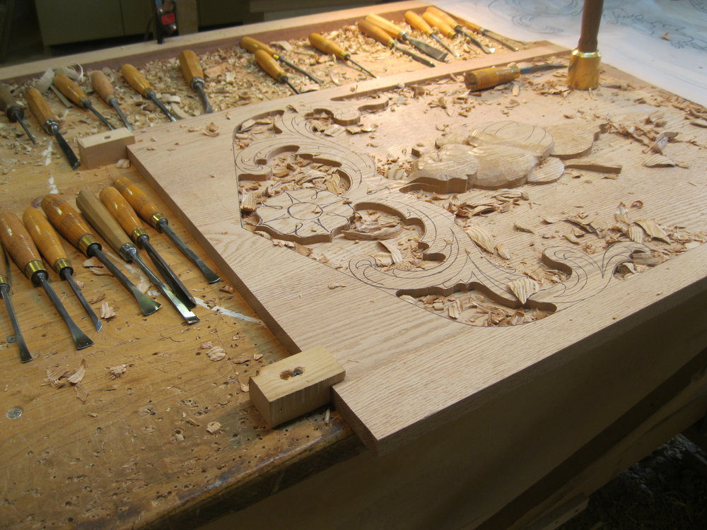 Roughing out a Tudor style, carved pantry door