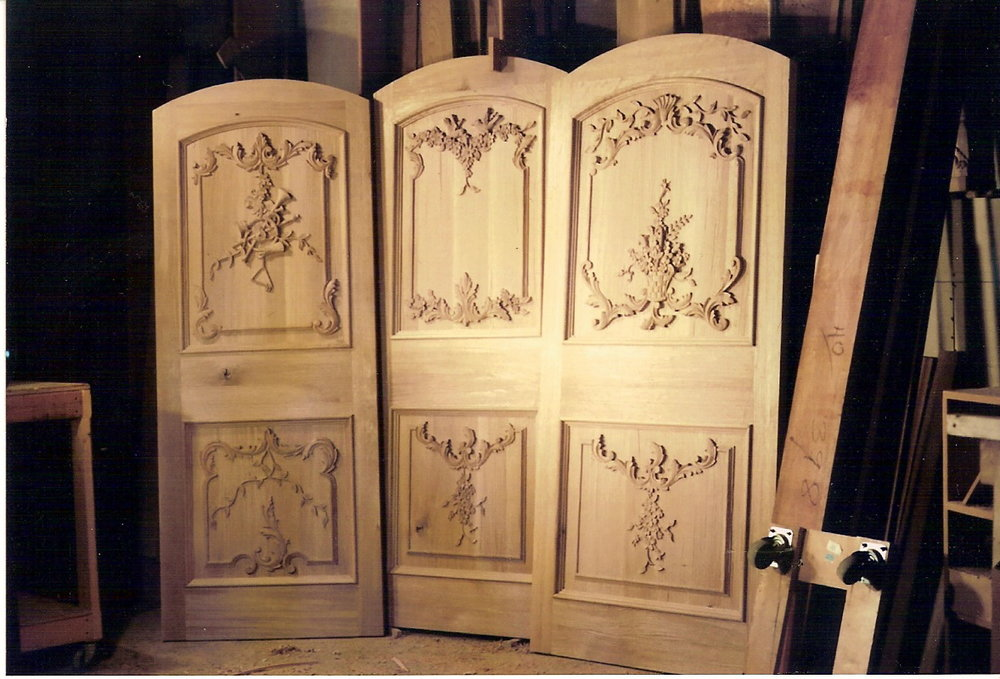 French Country hand carved doors