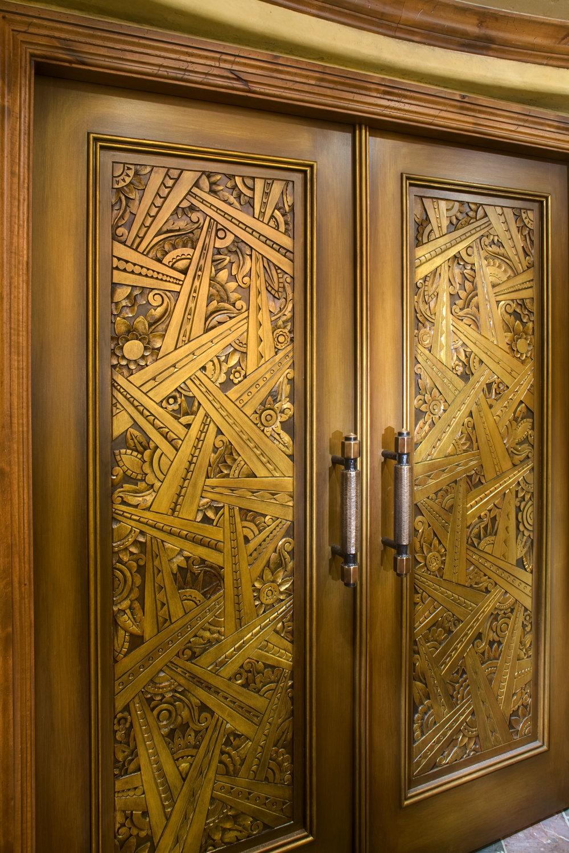 Art Deco home theater doors