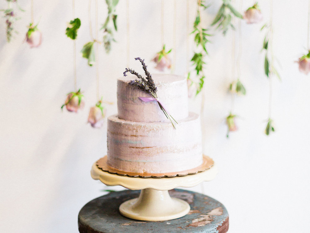 Lavender semi-naked two tiered cake. Photo:  Yasmin Roohi