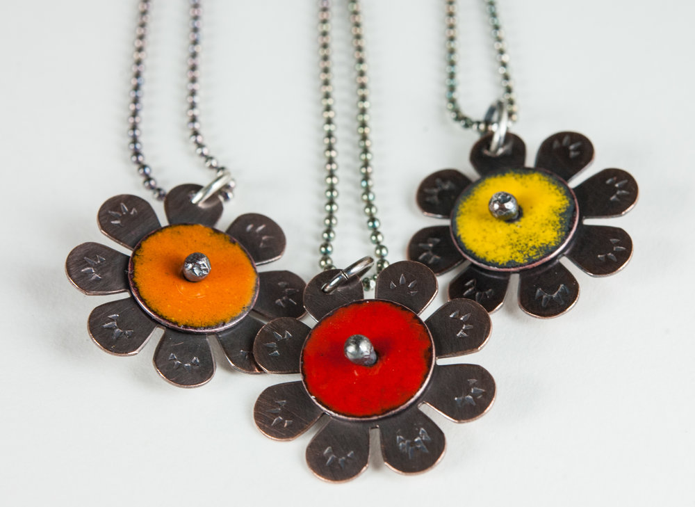 Tiny sunflower necklaces
