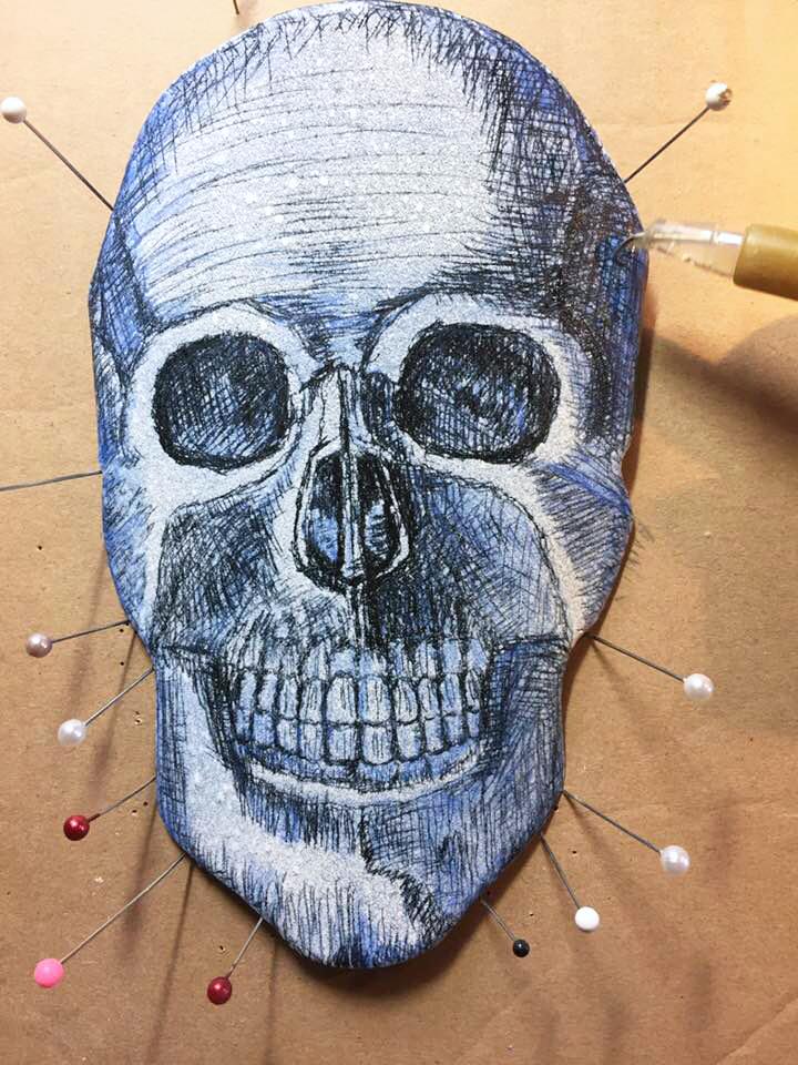 Enameled Steel Skull by Tammi Sloan of My Brown Wren