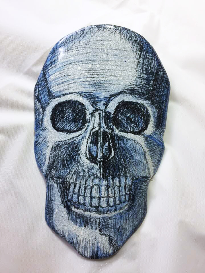 Enameled Steel Skull with Watercolor Details by Tammi Sloan of My Brown Wren